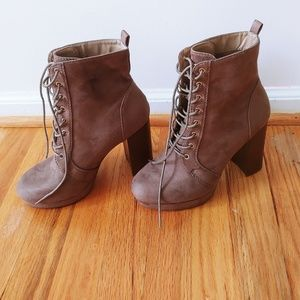 Taupe suede boot heels
